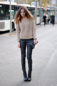 sweater with leather trousers